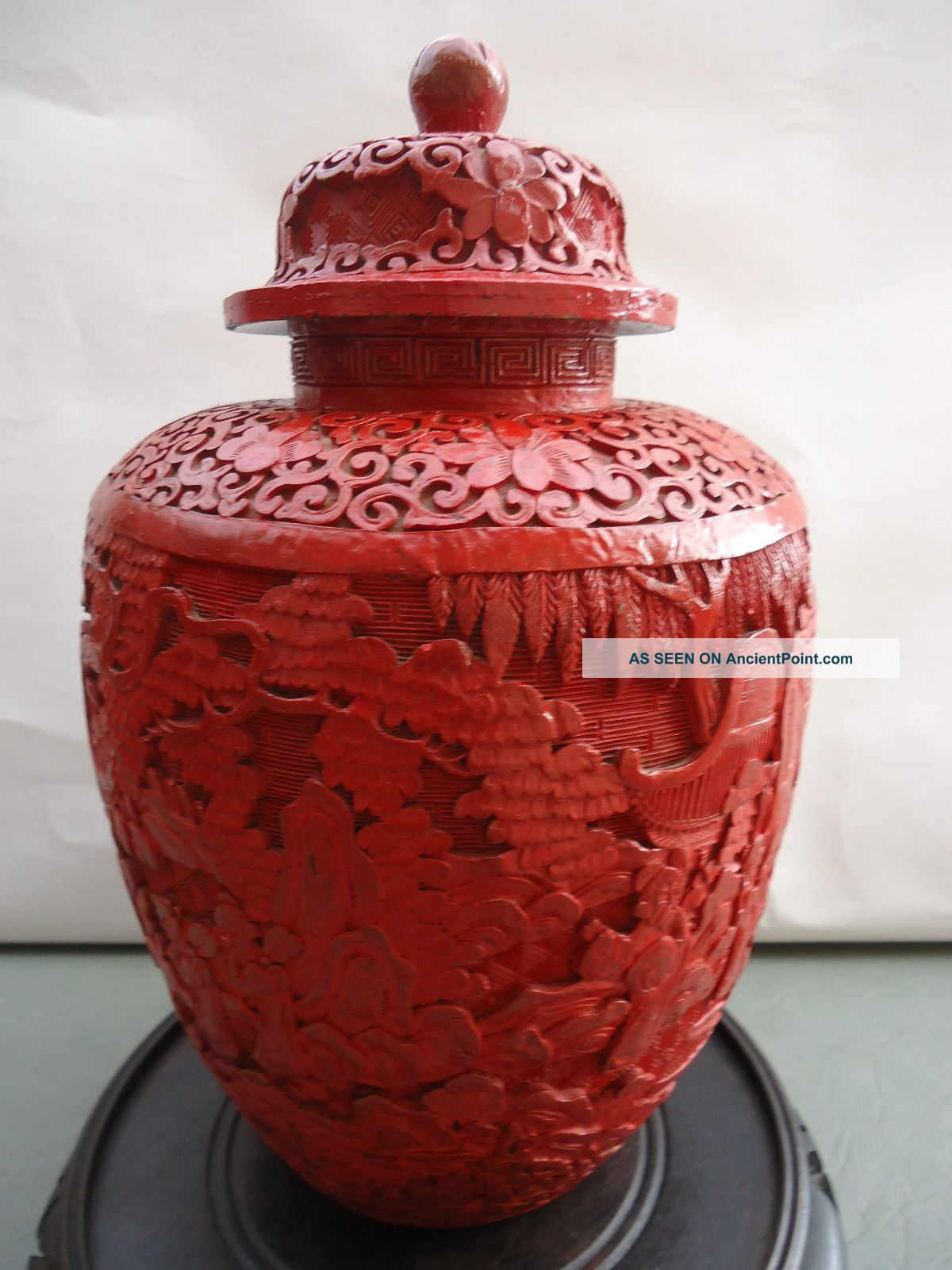 Guaranteed Carved Antique Cinnabar - 1880 Chinese Large Heavy Pot Vase 12x7 1/2 Boxes photo