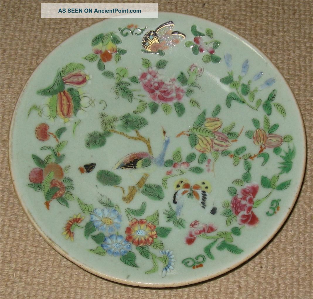 & Antique Chinese Famille Rose Celadon Plate Circa 1880