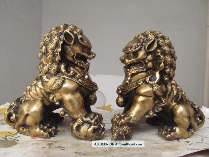 China Regius Palace Brass Door Talisman Fu Foo Dog Evil Guardian Lion Pair Reproductions photo