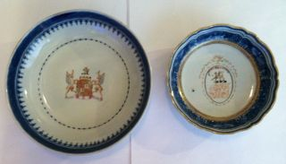 2 18th Century Chinese Export Blue Fitzhugh Armorial Bowls Saucers Plates photo