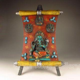 Chinese Turquoise & Hard Wood Statue - Elephant Buddha Nr photo