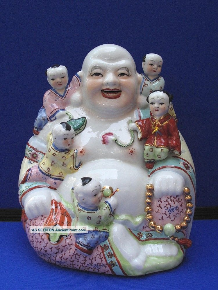 Fine Antique Large Chinese Porcelain Famille Rose Seated Buddha & 5 Boys Buddha photo