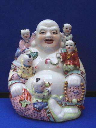 Fine Antique Large Chinese Porcelain Famille Rose Seated Buddha & 5 Boys photo