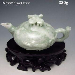 100% Natural Jadeite Jade Teapots & Lid W Plum Flower Nr/xy1977 photo