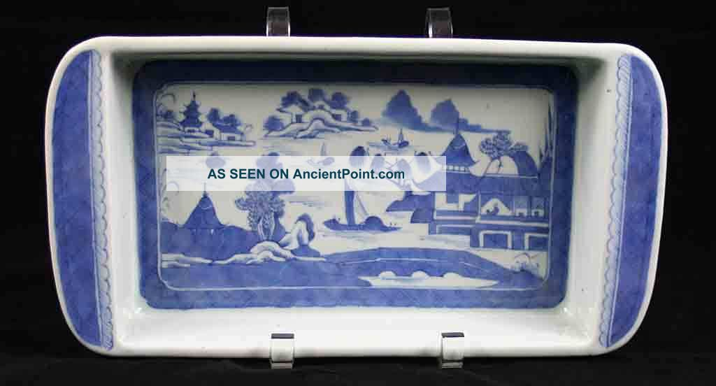 Antique Blue & White Canton China,  Export Porcelain - - - - - A Very Rare Bulb Tray Boxes photo
