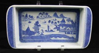 Antique Blue & White Canton China,  Export Porcelain - - - - - A Very Rare Bulb Tray photo