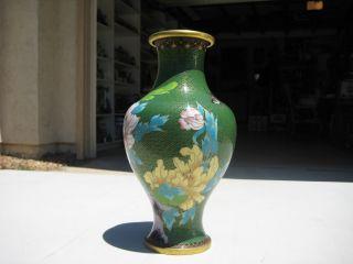 Vintage Chinese Enamel Cloisonne Floral Vase 10
