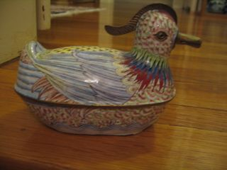 Chinese Canton Enamel Duck - Nicely Detailed Hand Painted W/ Metal Work photo
