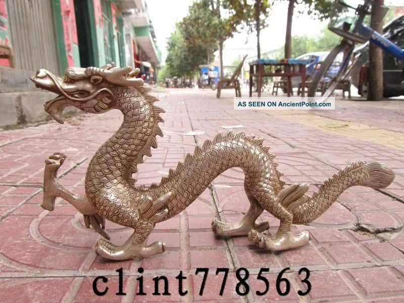 China Art Silver Carved Fly Dragon Statue St Reproductions photo