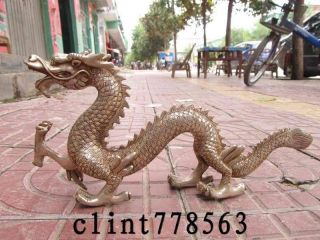 China Art Silver Carved Fly Dragon Statue St photo