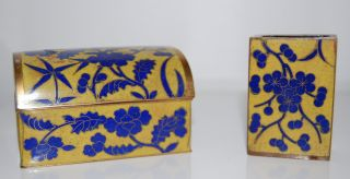 Vintage Enameled Cigarette Box Matchbox Holder Yellow Blue Slightly Damaged Box photo