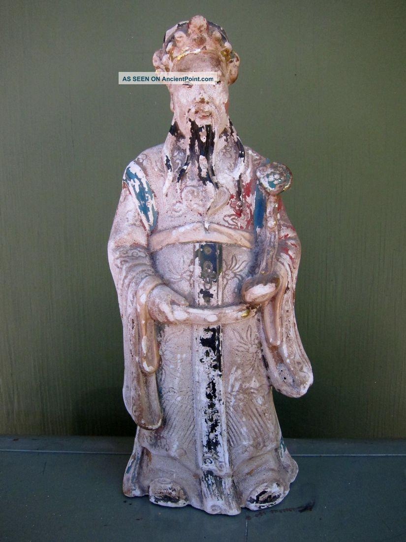 19th Century Chinese Standing Ceramic Elder - Interesting Colorful Patina Buddha photo