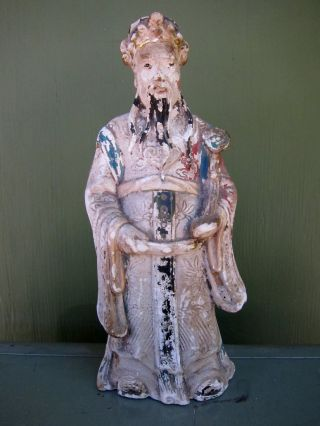 19th Century Chinese Standing Ceramic Elder - Interesting Colorful Patina photo