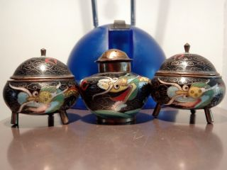 Three Small Antique Oriental Chinese Dragon Cloisonne Enameled Condiment Pots photo