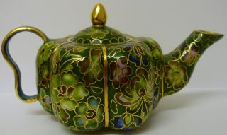 Brass Cloisonne Tea Pot Flower Green Lotus Lilly Roses Enamelled Vintage Rare photo