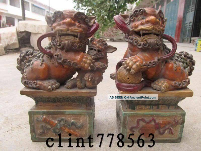 1 Wucai Porcelain Talisman Door Foo Dog Lion Pair St Reproductions photo