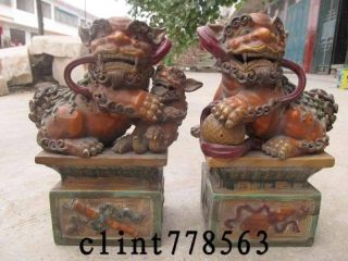 1 Wucai Porcelain Talisman Door Foo Dog Lion Pair St photo