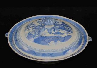 Antique Blue & White Canton China,  Export Porcelain - - Rare,  Round,  Hot Water Dish photo