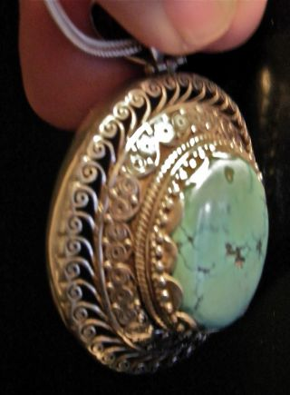 Large Turquoise Sterling Silver Pendent With Chain From Bhutan photo