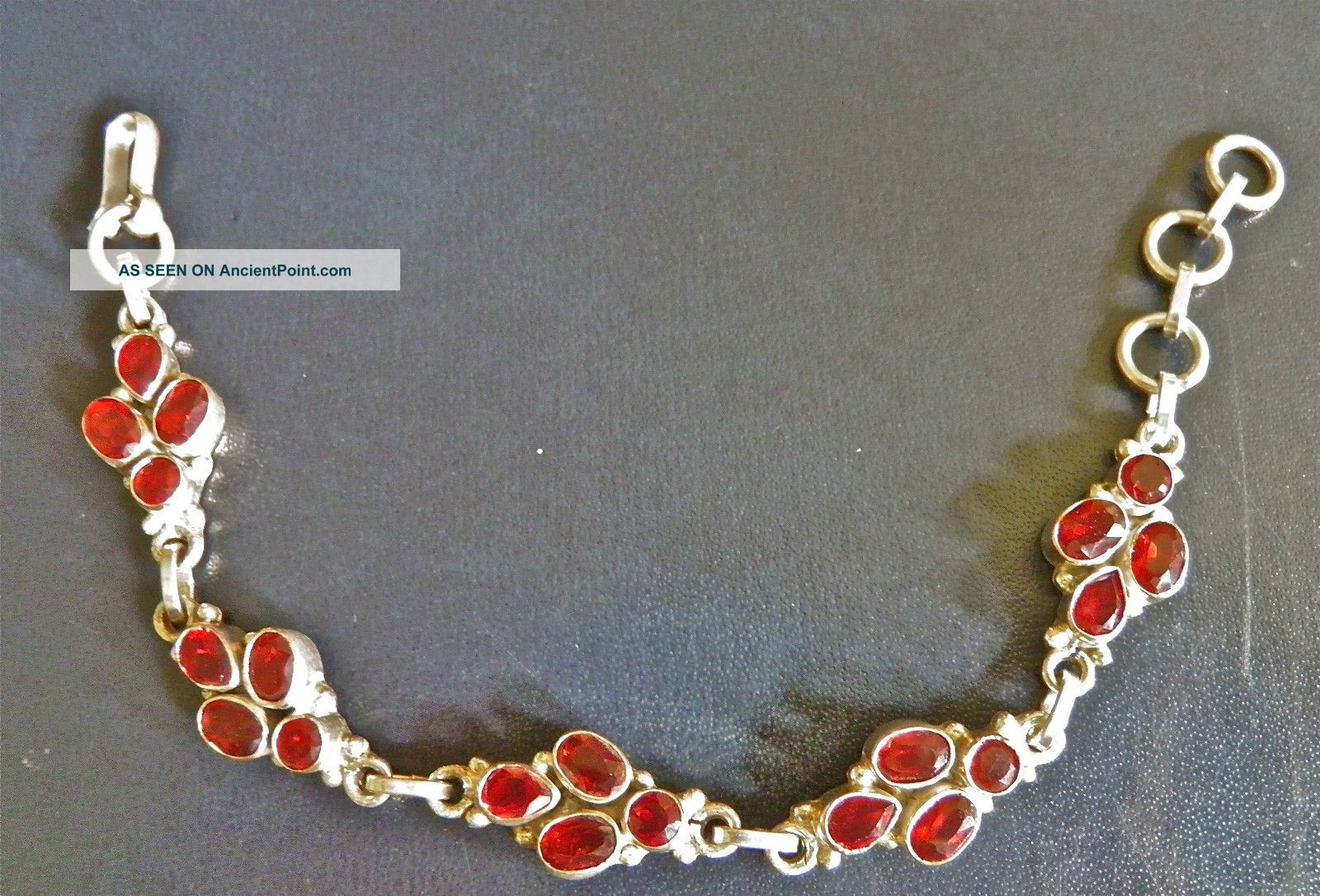 Sterling Silver Garnet Bracelet From Bhutan Buddha photo