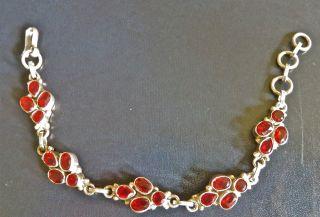 Sterling Silver Garnet Bracelet From Bhutan photo