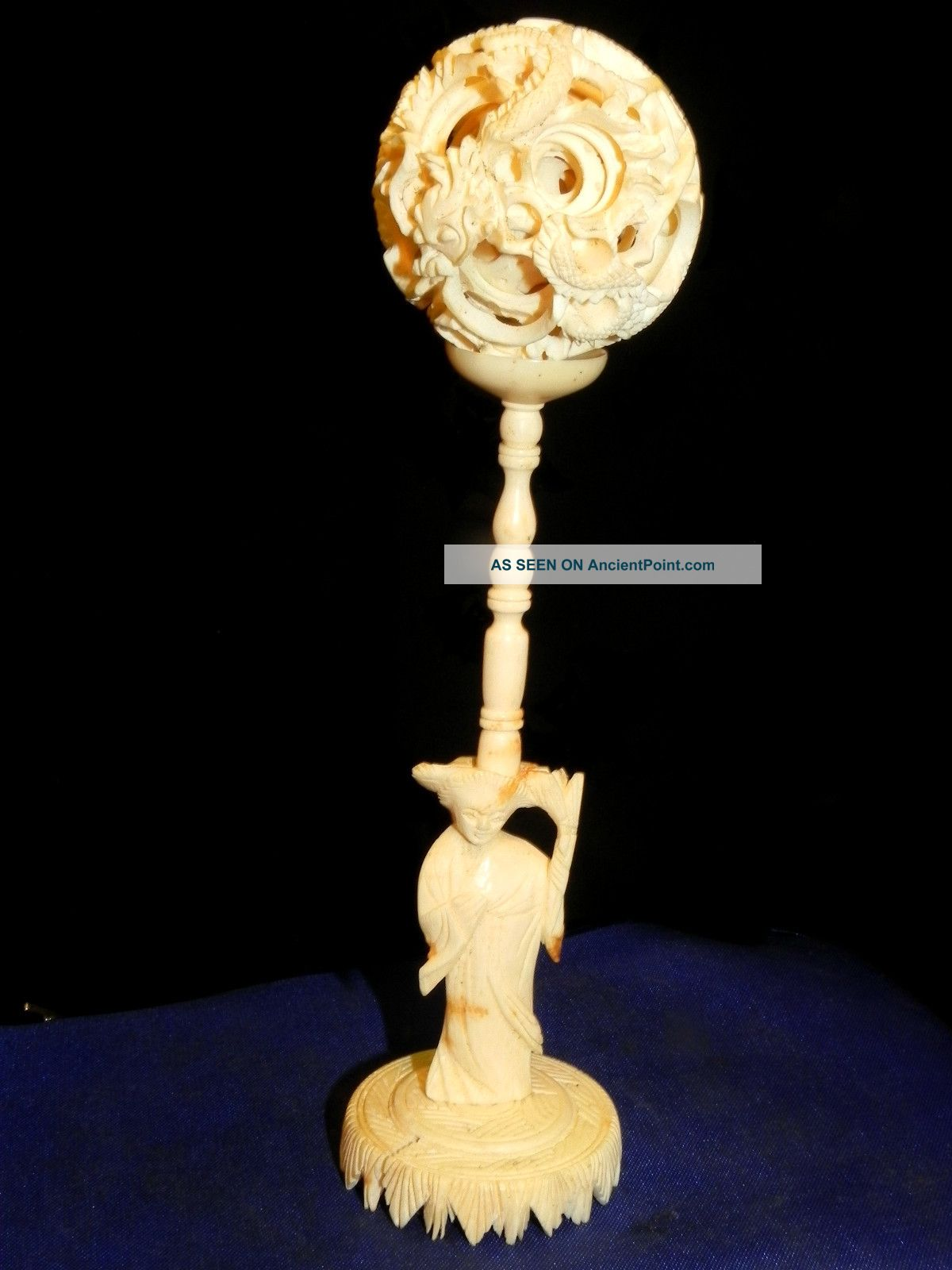 Vintage Oriental Chinese Carved Ox Bone Puzzle Ball Figural Kwan Yin Stand