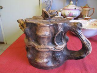 Wonderful Yixing Zisha ? Clay Pottery Old Pine With Bird Large Teapot Signed. photo