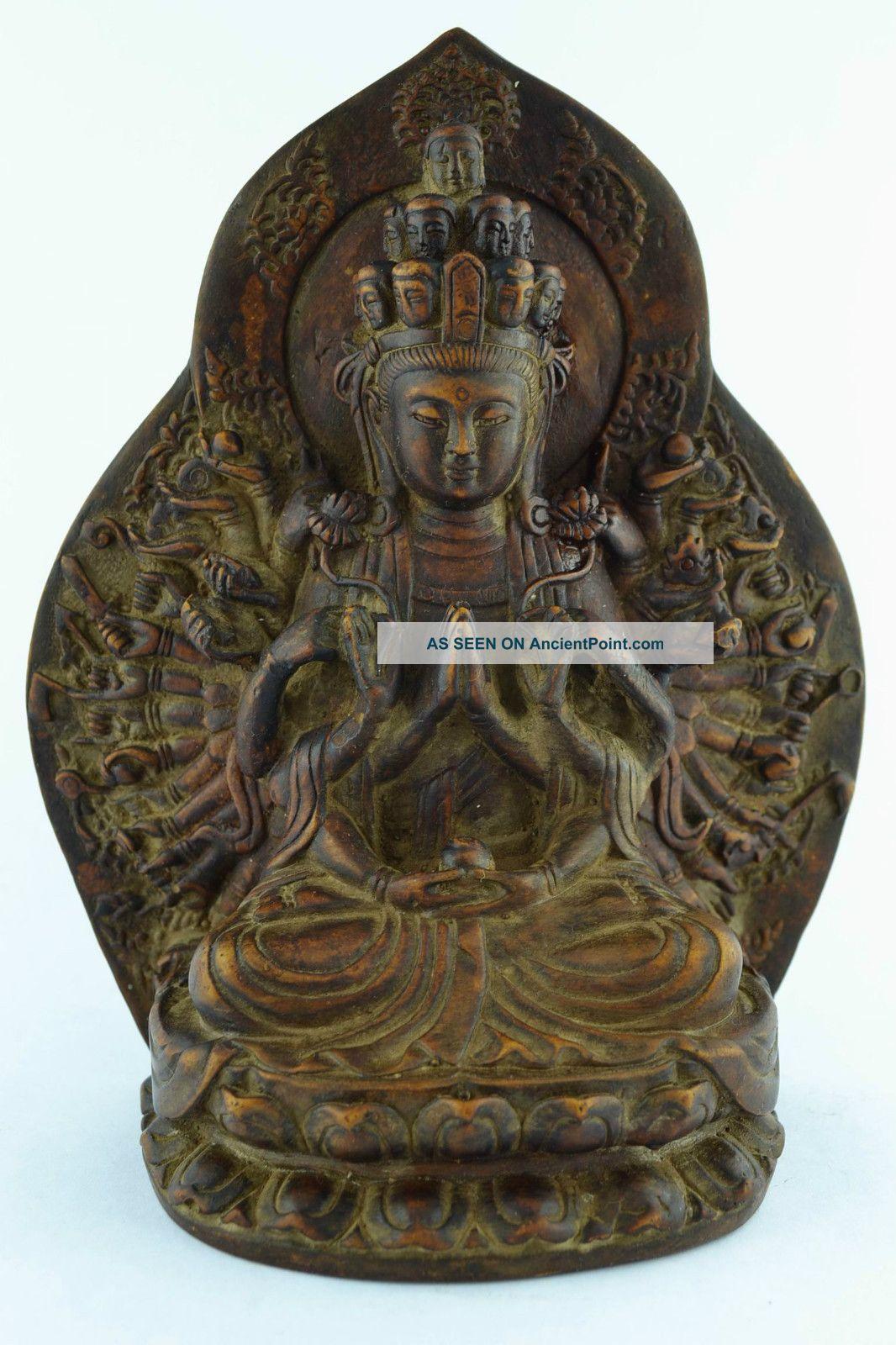 China Rare Collectibles Old Handwork Zisha Carving Thousand Hand Buddha Statue Buddha photo