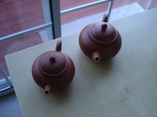 Pair Of Small Red Clay Yixing Zisha Teapots,  Nicely Balanced photo