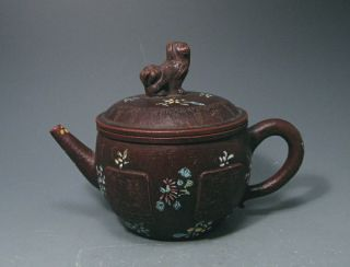 Old Chinese Yixing Pottery Covered Teapot With Dog Finial photo