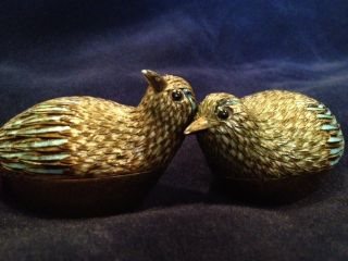 Silver & Enamel Chinese Kweilin Quail Boxes Limited Edition/cert Of Authenticity photo