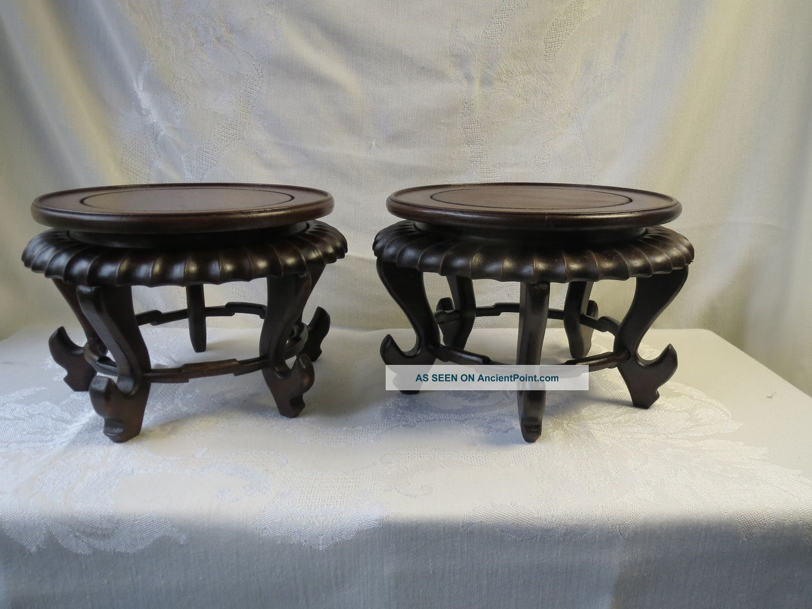 Antique chinese carved two pair wood stand display plate bowl antique chinese carved two pair wood stand display plate bowl vase statue floridaeventfo Images