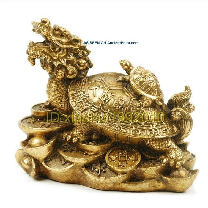 Chinese Handmade Copper Dragon Turtle Statue Buddha photo
