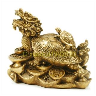 Chinese Handmade Copper Dragon Turtle Statue photo