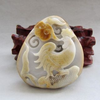 225g Chinese Hetian Ziliao Jade Carved Rooster Statue Carving photo