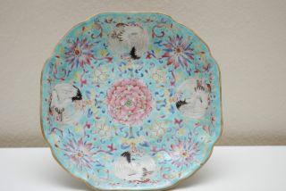 Late 19thc Chinese Antique Porcelain Plate Tongzhi Marked photo