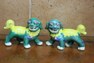Vintage Foo Dogs Imperial Temple Guardian Lions Walking Yellow And Jade Green photo