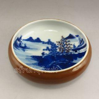 Chinese Porcelain Brush Washer W Kang Xi Mark photo