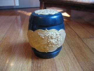Vintage Chinese Lacquer Canister With Dragon Design In Gold Tone photo