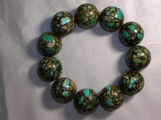 Acoin Old 11 Big Turquoise Balls Bracelet 21mm Dia.  Each Ball Vr Vf photo