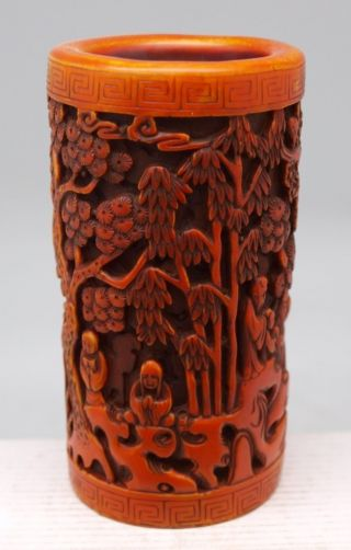 Chinese Vase With Carved Oriental Scene Of People On A Boat photo