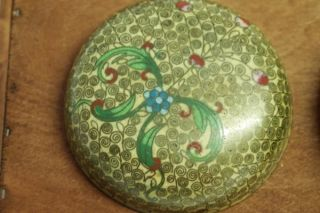 Antique Brass Cloisonne Bowl With Lid Enameled Inside photo