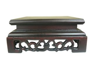 Chinese Dark Color Wood Square Stand,  Carving photo