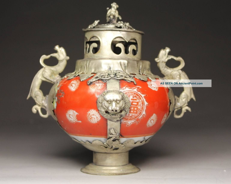 Chinese Handwork Porcelain Dragon Flower Old Incense Burner Buddha photo