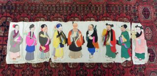 Very Old Set Of 9 Chinese Woven Silk & Painted Immortals / Gods - Early 20th C photo