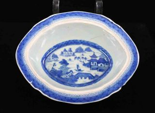 Antique Blue & White Canton China,  Export Porcelain - Damaged:oval Vegetable Dish photo