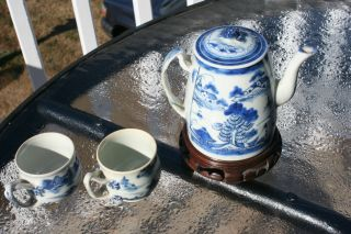 Asian Japanese Or Chinese Antique Tea Pot With 2 Tea Cups 1880 ' S - 1900 photo