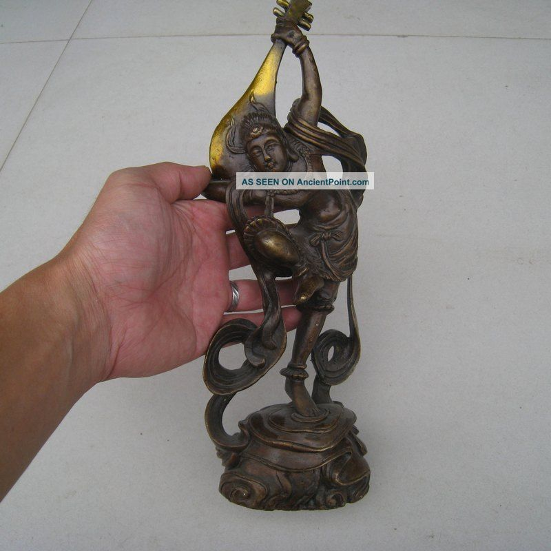 19th.  C.  The Chinese Dunhuang Flying Ladies Rebound Lute Statue Charm Nr Buddha photo