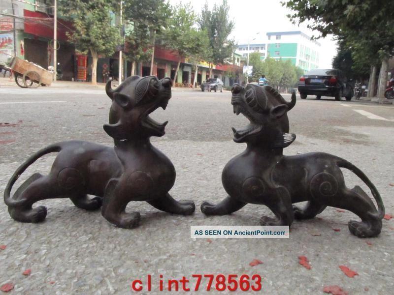 China Classic Bronze Evil Guardian Door Foo Dog Beast Pixiu Pair 23 Reproductions photo