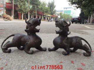 China Classic Bronze Evil Guardian Door Foo Dog Beast Pixiu Pair 23 photo